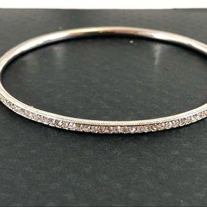 Nadri Thin Pave silvertone slip on bangle